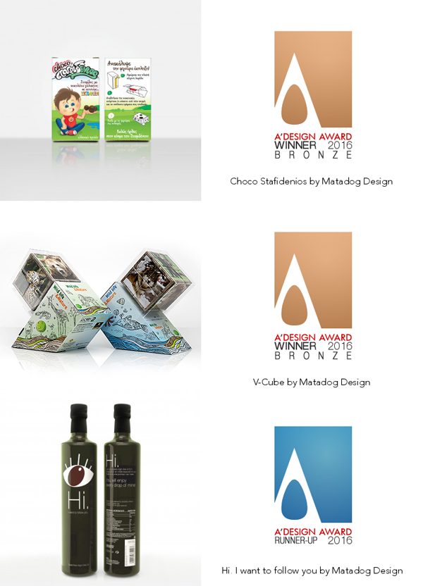 2 bronze and 1 runner up at a design awards